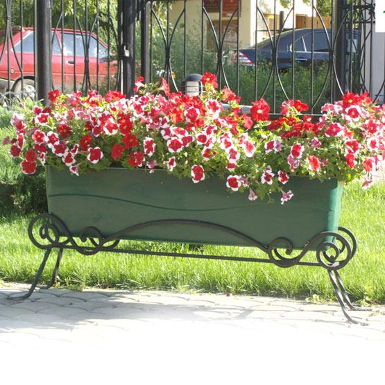 """Вазон цветочный уличный """"Цвеона 12LP"""" с кованой подставкой"""