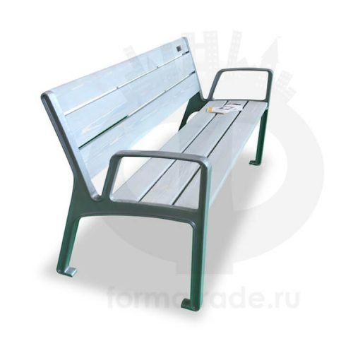 Скамейка алюминиевая «Экстра с подлокотниками»