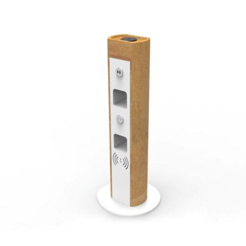 Двустороннее зарядное устройство USB, Qi и розеткой 230В декорированное деревом